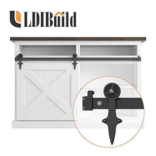 LD BUILD 4ft Mini Sliding Barn Door Hardware Kit, Unique Design Hanger, Easy Installation, Quality Roller, Perfect for Cabinets, TV Stands for 24″ Wide DoorPanel (Vintage Steering Wheel Style)
