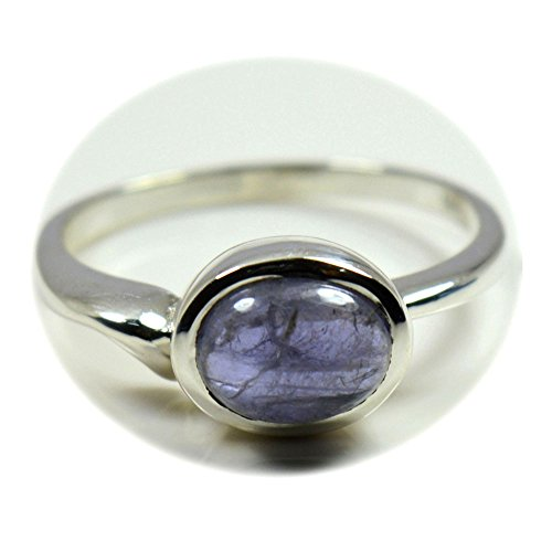 55Carat Natural Iolite Ring 925 Sterling Silver For Gift Blue Gemstone Handmade Size 4,5,6,7,8,9,10,11,12 (Gemstone Iolite Ring)