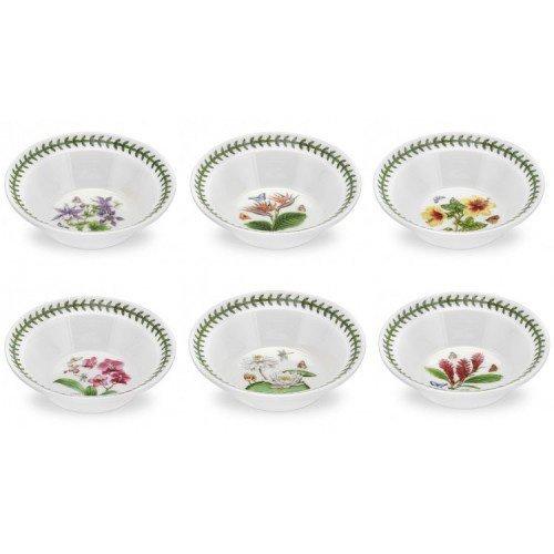 PORTMEIRION EXOTIC BOTANIC GARDEN Oatmeal bowls set of 6 assorted motifs by Portmeirion