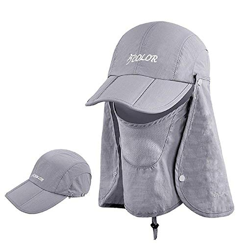 ICOLOR Sun Caps Flap Hats 360° Solar Protection Folding UPF 50+ Sun Cap Removable Neck&Face Flap Cover Caps for Baseball,Backpacking,Cycling,Hiking,Fishing,Garden,Hunting Outdoor Camping-Gray (Rip Drive)