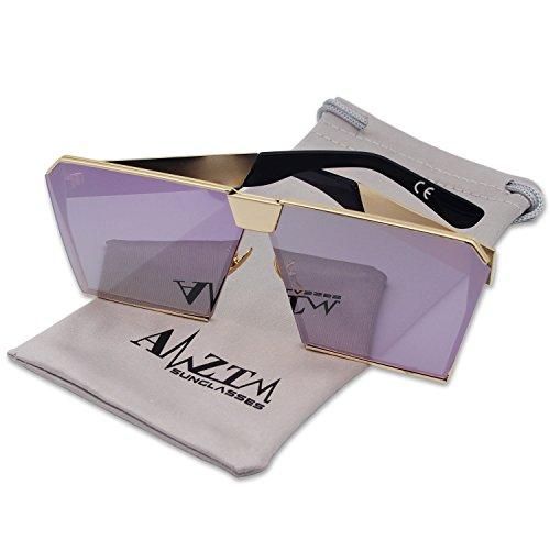 amztm sol gran Gafas de cuadrado efecto reflectante Espejo polarizada Púrpura las mujeres lente de tamaño para rnqrA8Cx
