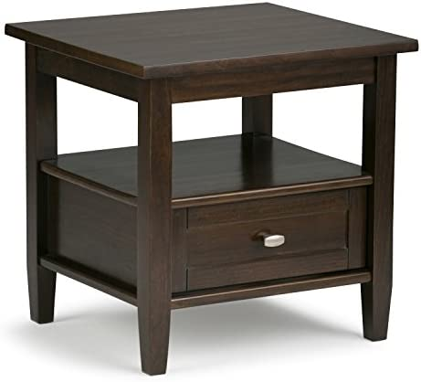 SIMPLIHOME Warm Shaker SOLID WOOD 20 inch wide Rectangle Rustic Contemporary End Side Table