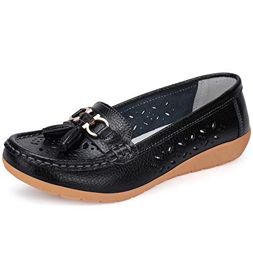 - labato Women's Leather Loafers Breathable Slip on Driving Shoes Casual Comfort Walking Flat Shoes