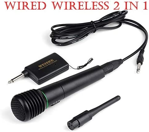 Wired or Wireless 2in1 Handheld Microphone Mic Receiver System Undirectional System Long Distance 8-20m,16 Hours Continuous Use for Family Party,Church,Small karaoke Night Mic Cordless set