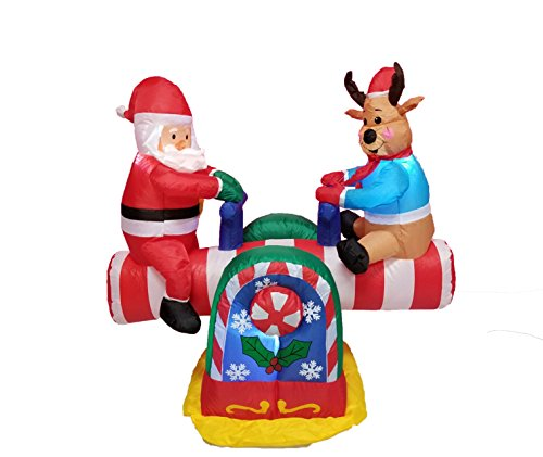 - 4 Foot Animated Christmas Inflatable Santa Claus and Reindeer on Teeter Totter Outdoor Yard Decoration
