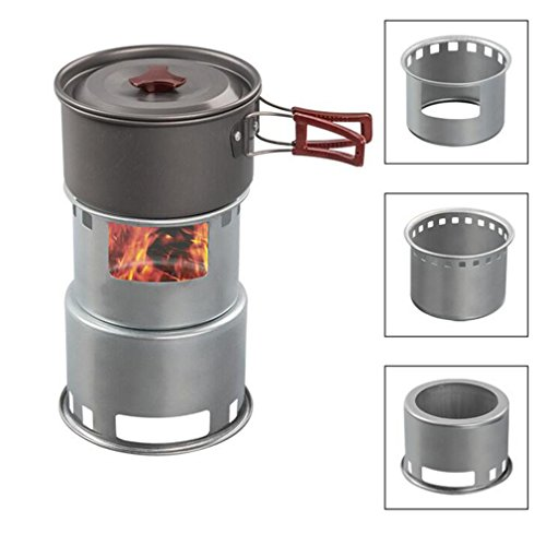 OUTAD Outdoor Solo Stove Camping Carbon Steel Stove, LightWeight Energy-saving Firewood Charcoal BBQ Barrel for for Backpacking, Camping, Survival