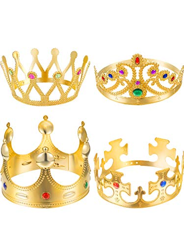 (Zhanmai 4 Pieces Gold Crown Royal King Crowns and Queen Princess Jeweled Costume Accessories)