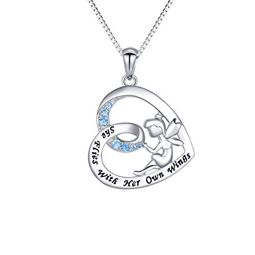 S925 Sterling Silver Fairy with Angel Wings Engraved Inspirational