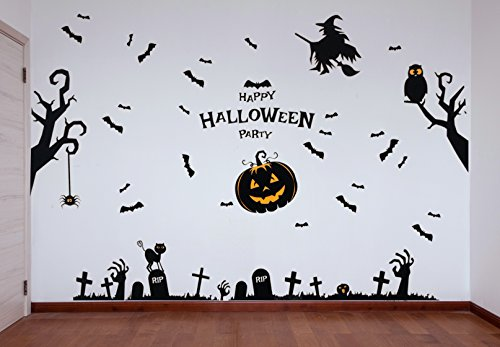 29 Halloween Themed Wall Poster Stickers - Complete Set of Spooky PVC Wall Decorations