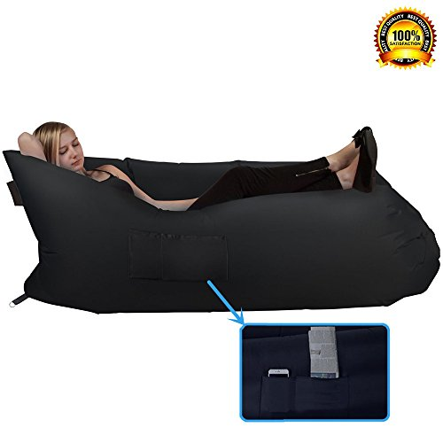 Hebensi Inflatable Hammock Lounger Air Sofa Hangout Couch Lounger Bag With Carrying Bag Waterproof Nylon Air Chair For Indoor Outdoor Camping Picnics Black