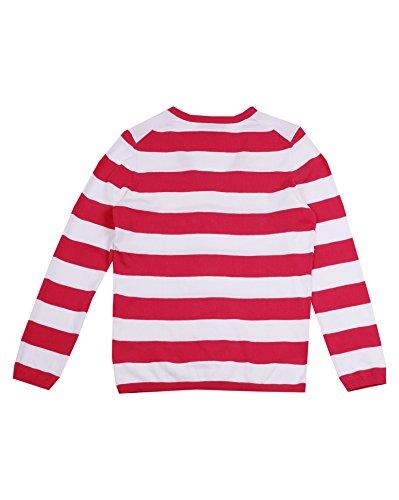Tommy Hilfiger Damen Pullover mit V-Ausschnitt Rot/Weiß aOg6RN
