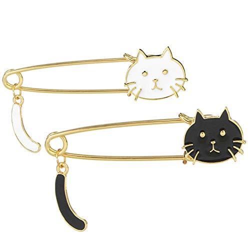 Coolrunner 2pcs Lovely Cat Brooch Pins/Safety Pins/Cute Cartoon Enamel Brooch