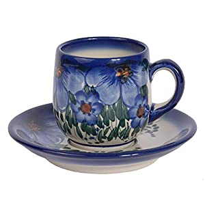 Traditional Polish Pottery, Handcrafted Ceramic Espresso Cup and Saucer 100ml, Boleslawiec Style Pattern, F.301.CREDO