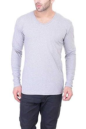 08d752f7dc3 BI FASHION Men s Solid V-Neck Full Sleeve T-Shirt New Men s Cotton Designer  T-Shirt  Amazon.in  Clothing   Accessories
