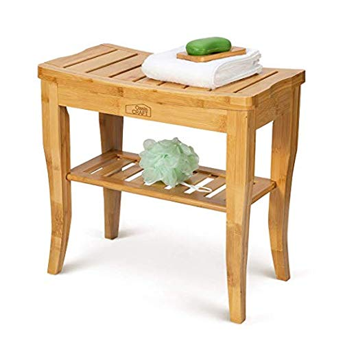 OasisCraft Bamboo Shower Chair with Free Soap Dish, 19