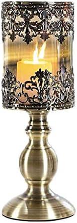 AJJZX Candlestick-シルバーメッキ燭台 - ラウンドベースと花柄で華やかなキャンドルホルダーのペア (Size : 36.5cm)