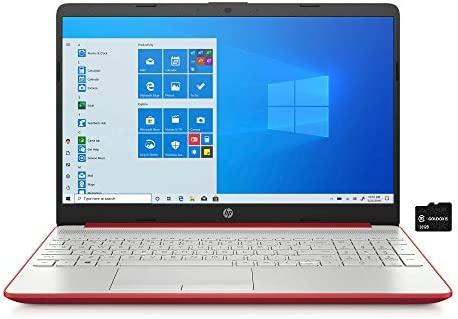 "2021 HP Pavilion 15.6"" HD Laptop Computer, Intel Pentium Gold 6405U, 4GB RAM, 500GB HDD, HD Webcam, USB-C, HDMI, Ethernet RJ-45, Windows 10 S, Red, GOLDOXIS Card"