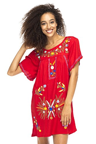 Back From Bali Mexico Embroidered Short Dress Red M/L