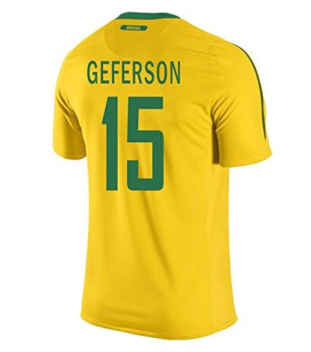 動かないジャニス道徳NIKE Geferson #15 Brazil Home Men Jersey/サッカーユニフォーム ブラジル ホーム用 ジェファーソン 背番号15