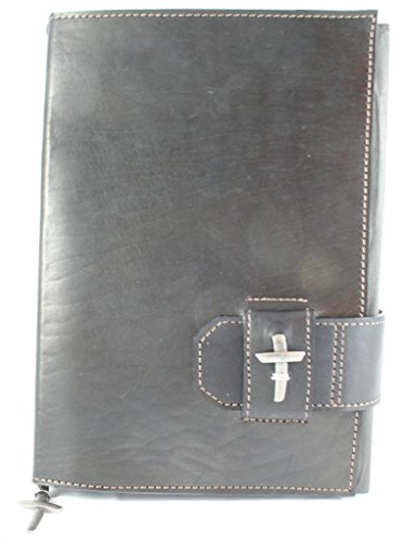 Amazing Leather Products CTL372L-BL Latigo Bible Cover with Slide Closure, Adorned with a Pewter Finish Cross, Durable Leather Bible Cover for Men, Women, Teens, or Children, - Bible Durable Cover