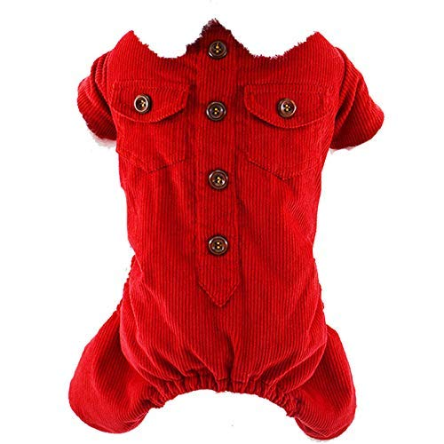 Red M Red M Party Pet Costume Puppy Dog Clothes Autumn and Winter Clothes Teddy Bears pet Clothes Four-Legged Clothes Thick Corduroy Lapel Coat (color   Red, Size   M) Pet Uniform (color   Red, Size   M)