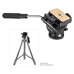 Kingjoy VT-1510 Tripod Fluid Head Drag Pan Tilt Monopod Head Camera Mount Quick Release Plate with 1/4 Screw for DSLR Canon Nikon Sony Pantax Olympus