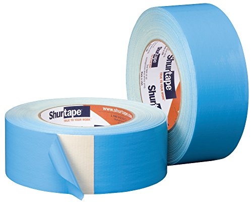 (Shurtape DF 545 Double-Sided Carpet and Duct Tape, Sticks to Hardwood, Concrete, Tile and More, Natural with Blue Liner, 48mm x 33 Meters, 1 Roll (152496))