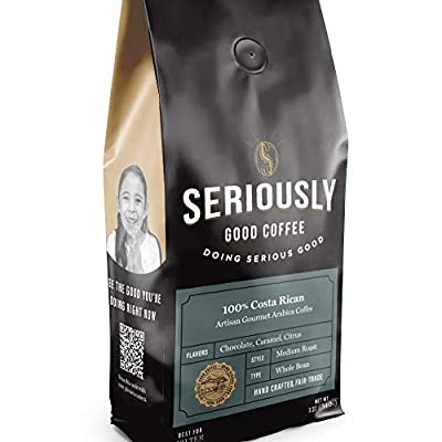 Seriously Good Coffee - 100% Arabica Coffee - Whole Bean - Costa Rican, Colombian, and South American Blend - Fair Trade, Freshly Roasted, 12oz by Seriously Good Coffee