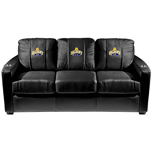 XZipit College Silver Sofa with Albany University Logo Panel, Black