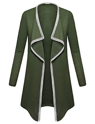 Baikea Drape Cardigan, Women Wide Lapel Raglan Long Sleeve Cascade Sweater Medium Weight Pretty Design Roomy Tops Perfect for Summer Night Formal Shirt Army Green XXL