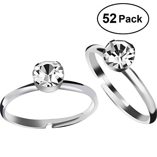 Aboat 52 Pack Bridal Shower Rings Silver Diamond Rings for Party Supply Table Decorations Favor Accents - Bridal Shower Decorations Favors