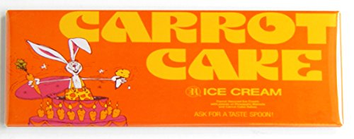 Carrot Cake Ice Cream Sign Fridge Magnet (1.5 x 4.5 inches) (Cream Ice Carrot Cake)