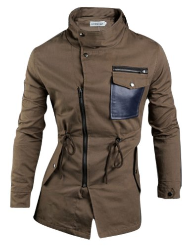 Allegra K Men Zip Closure Drawstring Waist Jacket Coffee Color L