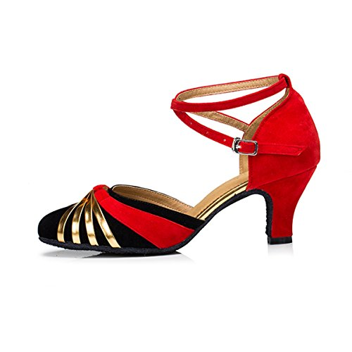 Miyoopark Kvinners Flerfarget Ankel Strap Suede Salsa Latin Tango Danseskoene Spenne Bryllup Pumper Svart-6cm Hæl