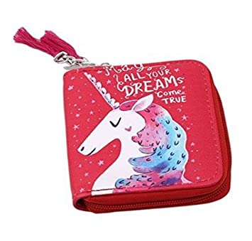 Cartera con diseño de unicornio de Fligatto, con monedero y tarjetero, roja: Amazon.es: Jardín