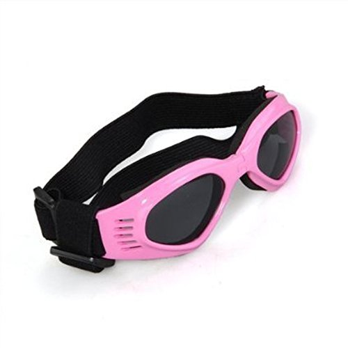 Dog Sunglasses, Doggy Goggles, Kromi Foldable UV Protection Doggie Dog Motorcycle Goggles Eyewear Pet Sunglasses for Small Medium Large Dogs (Pink, - Doggy Sunglasses