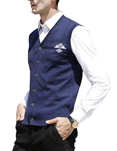 Argyle Vest (Zicac Mens Casual Slim Fit Argyle Sweater Knitwear Vest Sleeveless Sweater Button (L, Blue#2))