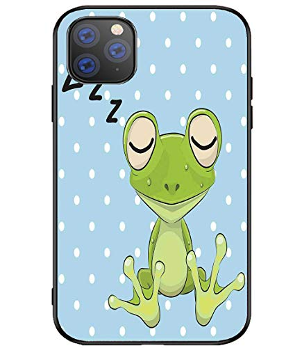 Creative iPhone Case for iPhone 11 Cartoon Sleeping Prince Frog in a Cap Polka Dots Background Cute Animal World Kids Home Resistance to Falling, Non-Slip,Soft,Convenient Protective Case