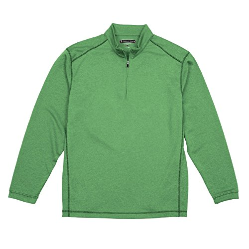 Pebble Beach Men's Performance Tech Golf Pullover 1/4 Zip Long Sleeve Shirt, Green, Medium