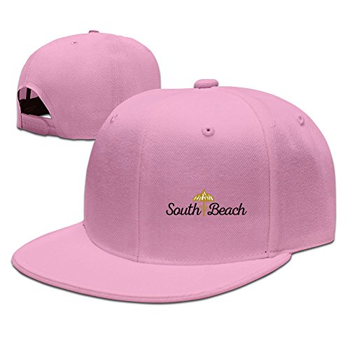 Men's South Beach Flat Brim Adjustable Snapback Baseball Cap Pink