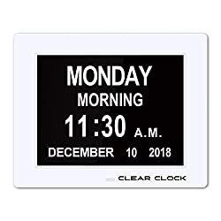 Clear Clock [Newest Version] Extra Large Digital Memory Loss Calendar Day Clock With Optional Day Cycle + Alarm Perfect For Seniors + Impaired Vision Dementia Clock White