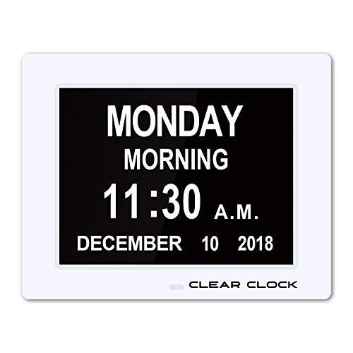 - Clear Clock [Newest Version] Extra Large Digital Memory Loss Calendar Day Clock With Optional Day Cycle + Alarm Perfect For Seniors + Impaired Vision Dementia Clock White