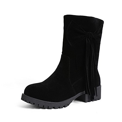 VogueZone009 Women's Frosted Round Closed Toe Solid Low-Top Low-Heels Boots, Black, - Of America The Location Mall