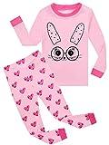 Kids Pajamas Hop Rabbit Girls Cotton Pajamas Childrens Sleepwear Clothes Set Toddler Pjs (Pink,5T)