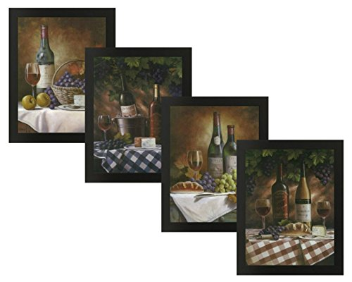 4 Framed Classy Wine Bottles Grapes Gourmet Fruit Art Prints Posters 11x14 Inches Kitchen Cafe Home Decor
