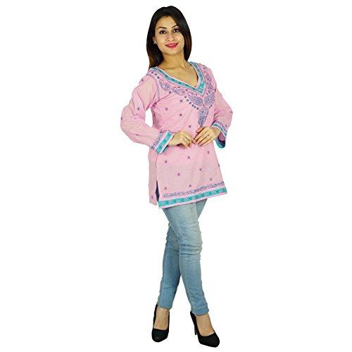 Bollywood Kurta de diseño indio étnico del regalo del algodón de las mujeres vestido casual para ella Kurti Túnica Rosado