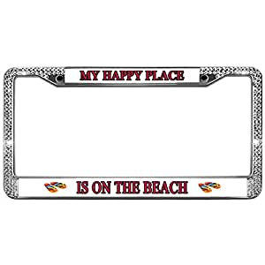 Amazon.com: GND My Happy Place is ON The Beach Car Tag