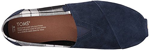 Toms Mens Classico In Tela Slip-on In Camoscio Blu Scuro / Plaid Nero