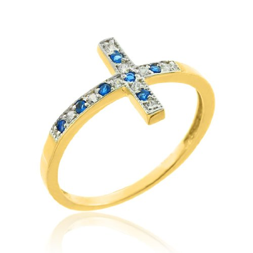 14k-gold-sideways-cross-ring-with-blue-and-white-cz