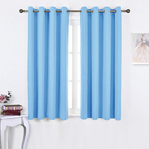 white and light blue curtains - 2